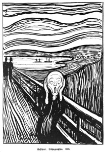 "L0011212 ""The scream"". Credit: Wellcome Library, London. Wellcome Images images@wellcome.ac.uk http://wellcomeimages.org ""The scream"". Lithograph 1895 By: Edvard MunchPublished:  -  Copyrighted work available under Creative Commons Attribution only licence CC BY 4.0 http://creativecommons.org/licenses/by/4.0/"